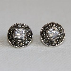 1.49 ct CZ Halo Marcasite Sterling Silver Earrings